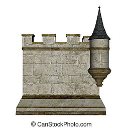 Castle wall and tower - 3D render - Castle wall and tower...