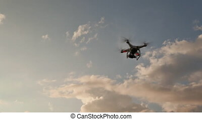 Drone With Camera Flying On Sunset. Fast Shooting.