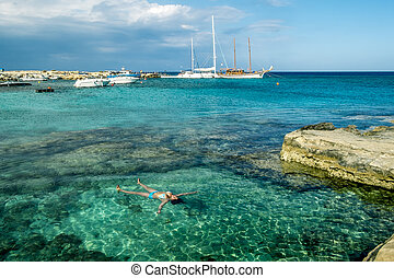Green Bay and rock beaches are in Protaras .Cyprus - May 20,...