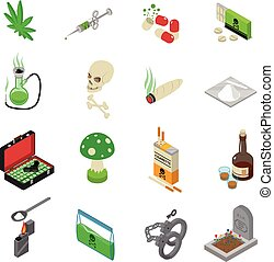 Drugs Icons Set - Drugs icons set with drugs alcohol and...