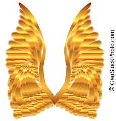 Gold Angel Wings - A large pair of golden angelic wings over...