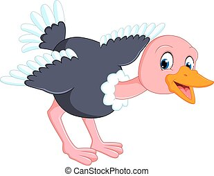 Cute ostrich cartoon - illustration of Cute ostrich cartoon
