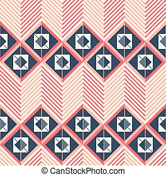 Seamless pattern of horizontal giant zigzag with squares...