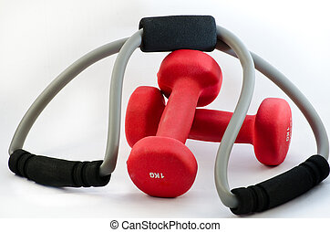 Two dumbbells and expander - Two red dumbbells and rubber...