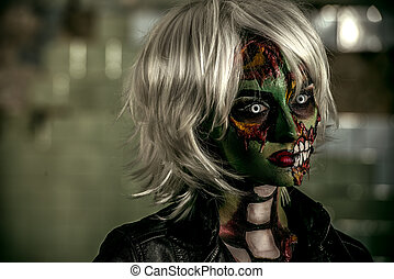 blonde zombie - Terrible bloodthirsty zombie woman in the...