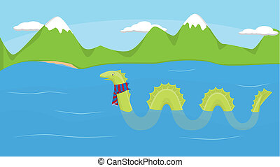 Loch Ness and Monster - Nessie in the cold Loch Ness in...