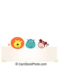 Cute safari animals holding banner - Vector Illustration of...