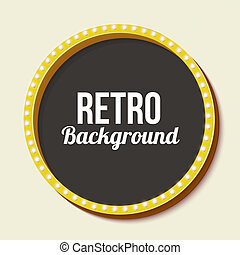 Retro frame circle with neon lights - Round retro frame with...