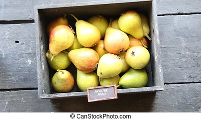 healthy food concept, vintage style - Healthy Organic Pears,...