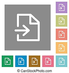 Import square flat icons - Import flat icon set on color...