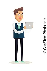 Man with Tablet Vector Illustration in Flat Design