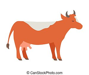 Cow Flat Design Vector Illustration on White - Cow...