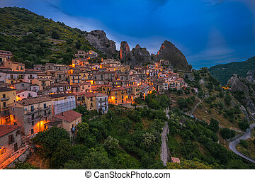 Castelmezzano at night, Basilicata, Italy
