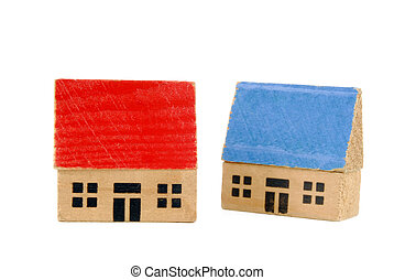 miniature wooden houses - two miniature wooden houses