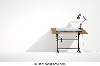 Drafting Desk Lamp And Paper - A 3D rendering of a vintage...