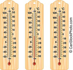 vector set of wooden thermometers