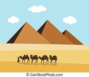 vector camels and bedouin in desert with egyptian pyramides