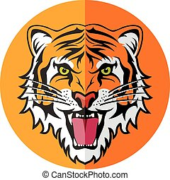 vector flat icon of stylized face of angry tiger