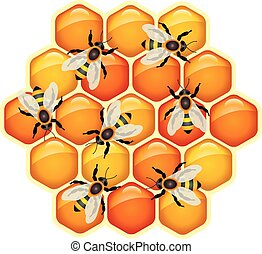 vector working bees on honeycomb cells