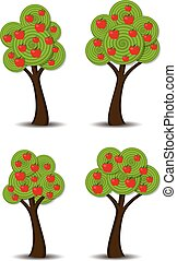 vector apple trees with fruits - vector group of stylized...