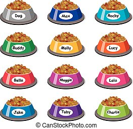 vector set of colorful plastic dog bowls