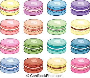 vector collection of colorful macarons