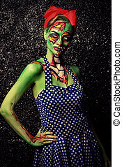lovely undead - Frightening pin-up zombie girl over dark...