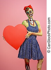 love of zombie - Portrait of a pin-up zombie woman with red...