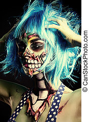 halloween hero - Fashionable zombie girl. Portrait of a...