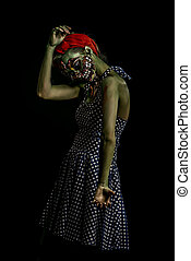 horror film - Frightening pin-up zombie girl over dark...