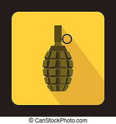 Hand grenade icon, flat style - Hand grenade icon in flat...
