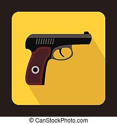 pistola, militar, Arma, icono, plano, estilo
