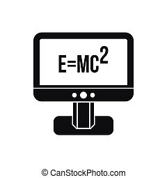 Monitor with Einstein formula icon, simple style - Monitor...