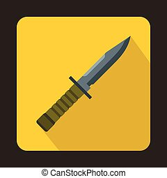 Military combat knife icon, flat style
