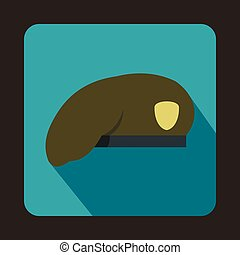 Army beret icon, flat style - Army beret icon in flat style...