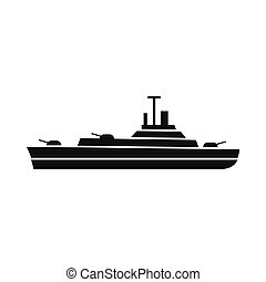 Warship icon, simple style - Warship icon in simple style...