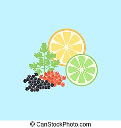 Red and Black Caviar Template Vector Illustration