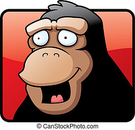 Ape Smiling - A cartoon ape illustration happy and smiling.