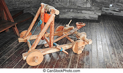 Model of wooden catapult - Small model of wooden war machine...