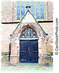Watercolor painting of a church door in the Netherlands