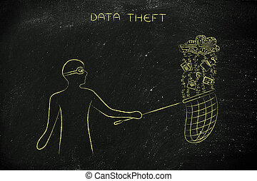 masked man stealing files from an electronic cloud, data theft