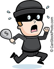 Burglar Running - A cartoon kid burglar running in fear