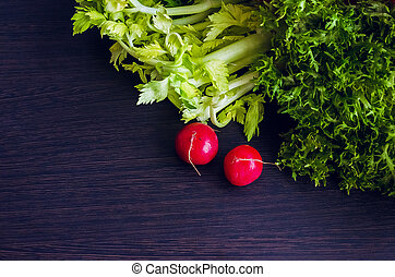 Composition with assorted raw vegetables