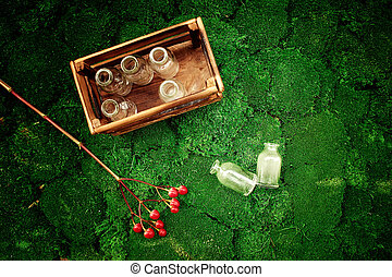 these little glass bubbles are in wooden box, juicy moss and...