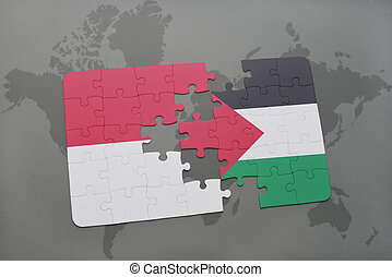 puzzle with the national flag of indonesia and palestine on...