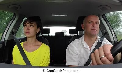 Road Rage With Angry Man Arguing - Married white couple on...