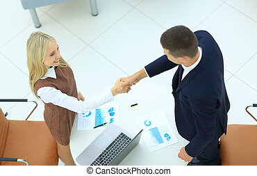 business handshake in modern office - Businesss and office...