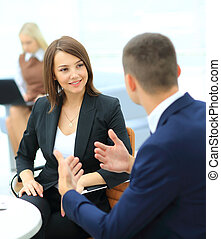 Businesspeople Having Meeting In Office - Image of business...