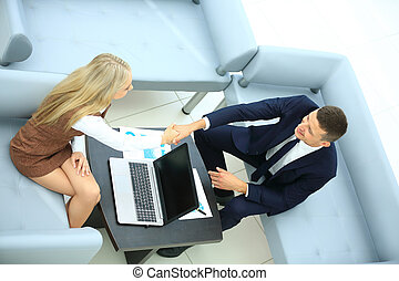 Business colleagues shaking hands - Teamwork: business...