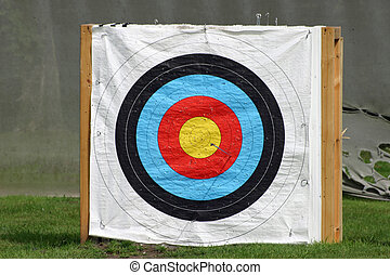 Archery target on a white background fitted to a pallet with...